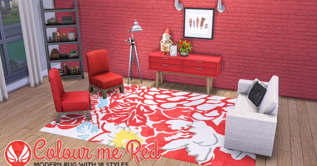 Simsational Designs: Colour Me Red Modern Rugs