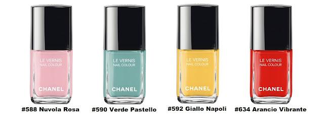Chanel LE VERNIS Longwear Nail Colour #588 Nuvola Rosa, #590 Verde Pastello, #592 Giallo Napoli, и #634 Arancio Vibrante
