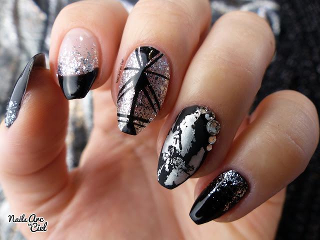Nail Art - Silver & Black abstrait géométrique et foil mat noir et argent par Nails Arc en Ciel