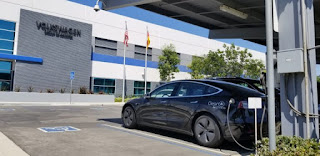 Tesla Model 3 at Volkswagen (Credit: cleantechnica.com) Click to Enlarge.