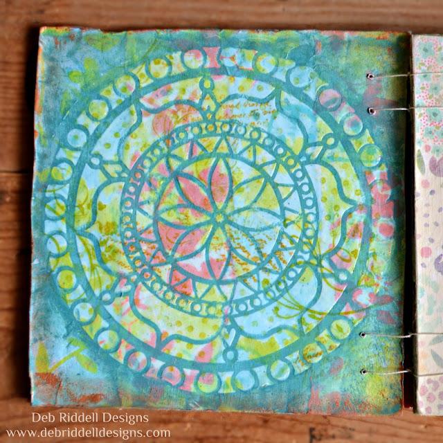 Spring Corrugated Cardboard Art Journal Detail