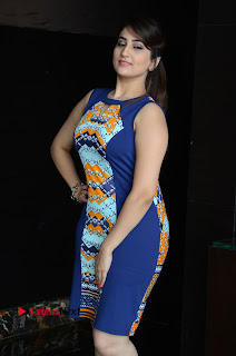 Actress Anchor Manjusha Pictures in Blue Short Dress at Jaguar Movie Success Meet .COM 0011.jpg
