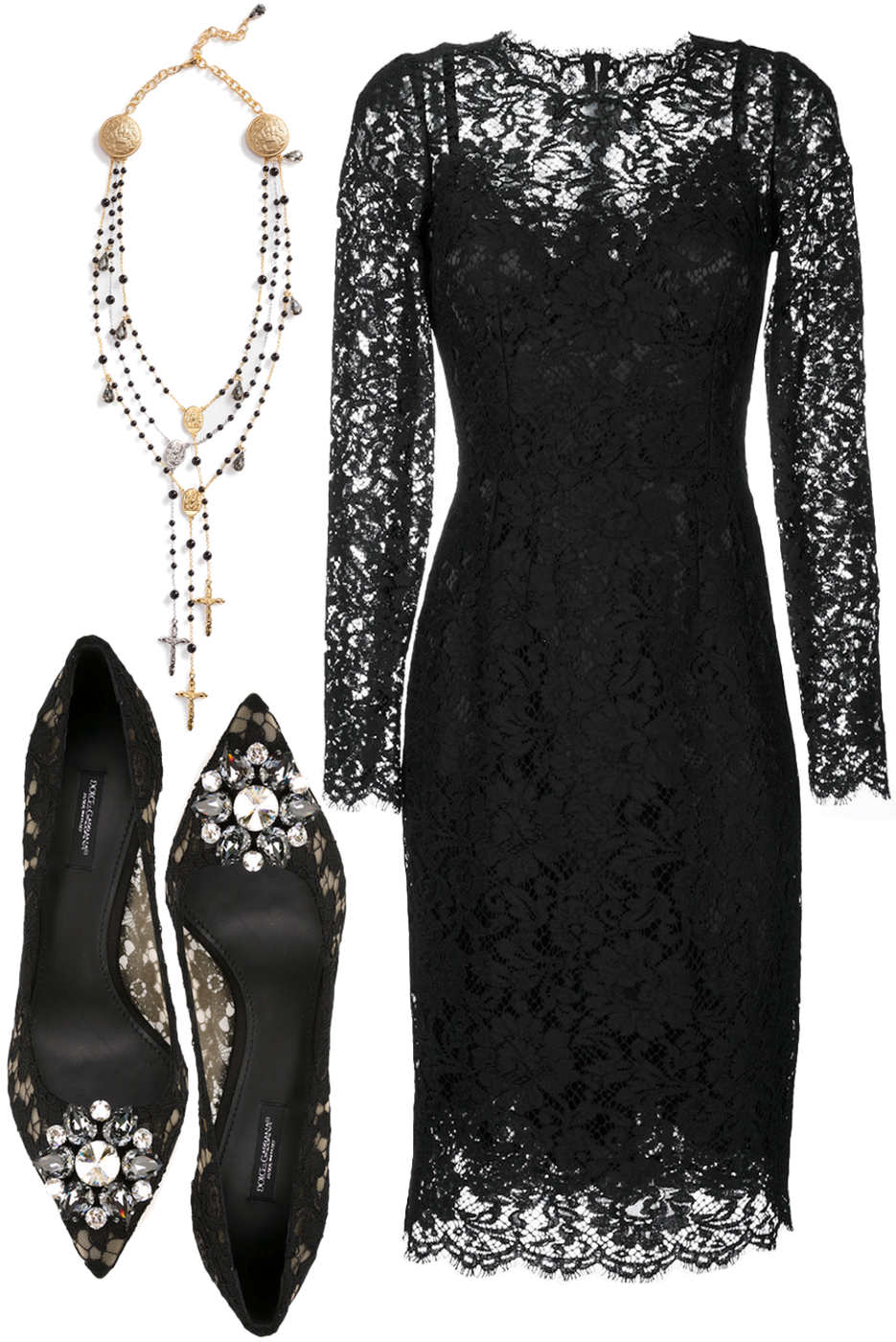 DOLCE & GABBANA CORDONETTO LACE SHEATH DRESS