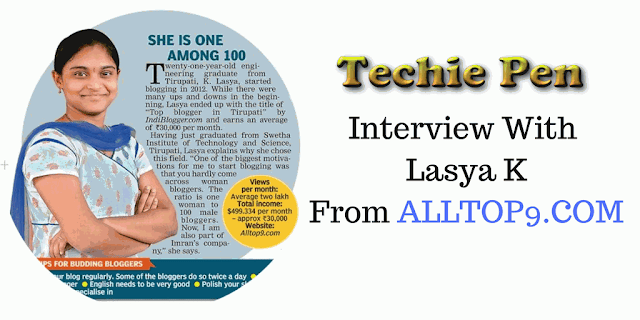 Interview With  Lasya K  From ALLTOP9 Blog