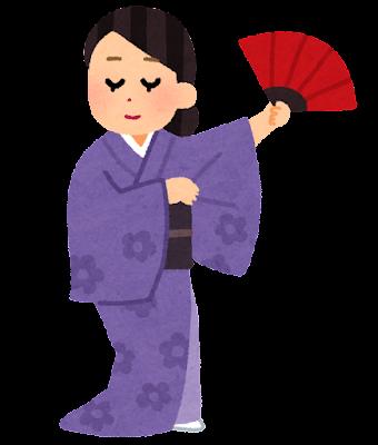 日本舞踊の練習をする人のイラスト
