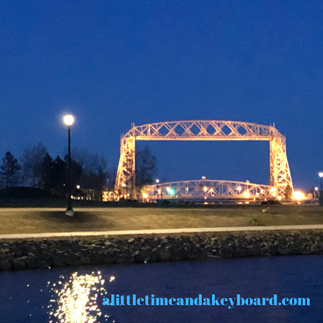 Magical evening look at the Aerial Loft Bridge in Duluth, Minnesota