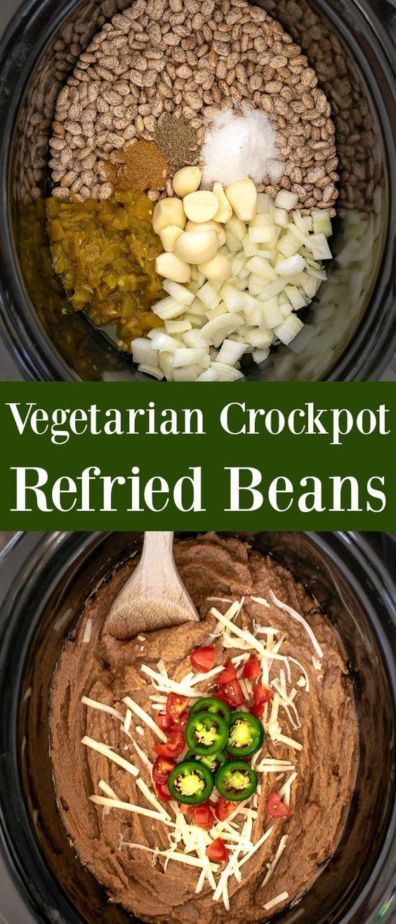 Easy Vegetarian Crockpot Refried Beans