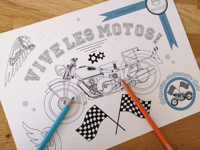 Coloriage gratuit moto animation organisation anniversaire enfant tête de coucou