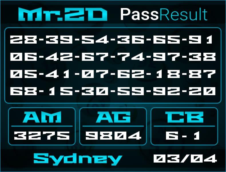 Prediksi Mr.2D | PassResult - Rabu, 3 April 2021 - Prediksi Togel Sydney