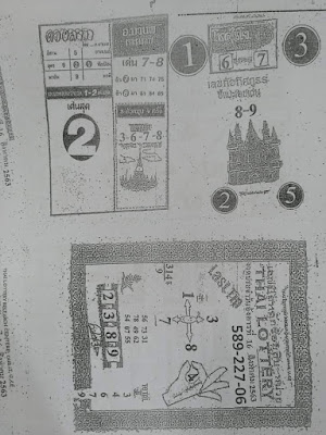 Thai Lottery 3up Formula 4pc Paper Facebook Timeline 16 February 2020