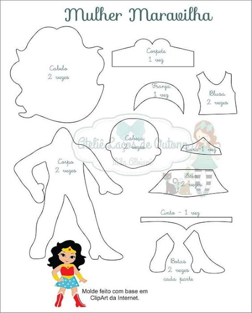 Wonder Woman Chibi Free Printable Template