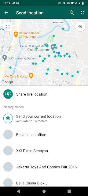 share lokasi whatsapp secara live