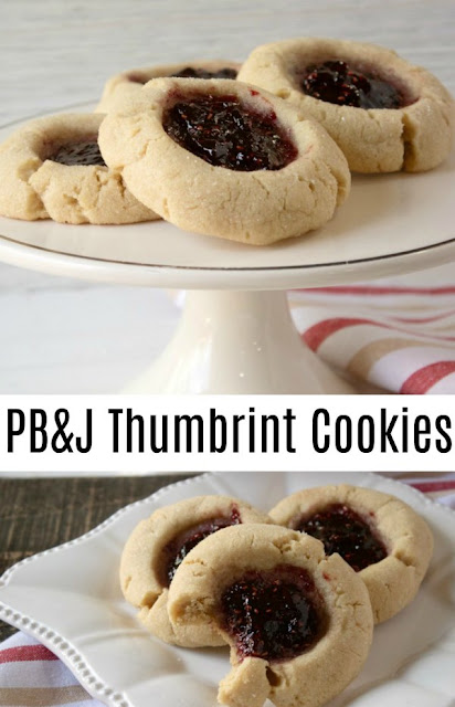 Take the classic combination of peanut butter and jelly and turn it into scrumptious thumbprint cookies. They are a fun back to school treat, perfect for holiday cookie trays or just because!