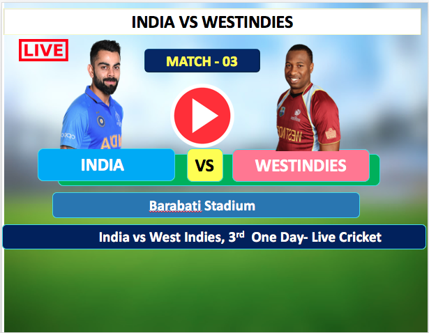 India vs WestIndies - 3rd  One day match, 22 December, India is Bowling first