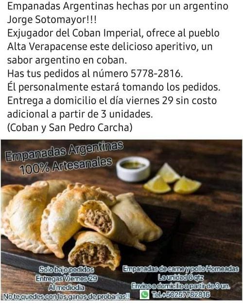 El futbolista Jorge Sotomayor decidió iniciar un emprendimiento con la venta de empanadas argentinas en Cobán. (Foto: Cortesía)