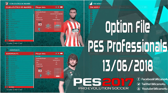 PES 2017 Option File PES Professionals Patch Released 13/06/2018