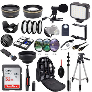 58MM Ultimate Video Camera Accessory Bundle (Mic + Video light UV, CPL, FLD, ND2, ND4, ND8 Telephoto lens + Macro Lens Set) for Canon EOS Rebel T7i SL2 T6i T6s T6 T5i T5 T3i 80D 77D 70D 60D 6D Cameras