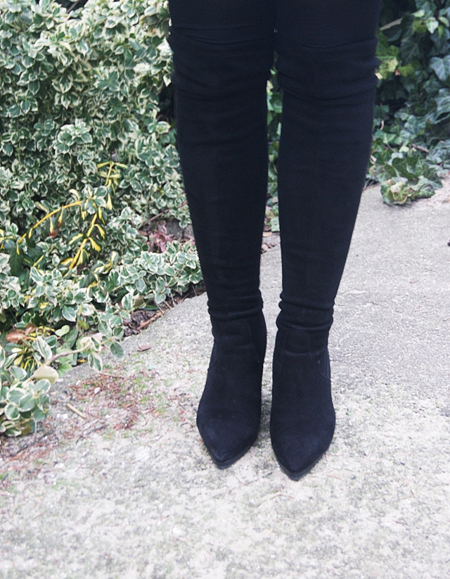 Winter Fashion Pointed Toe Slip-on Wedge High Heel Black PU Over the Knee Cavalier Boots     MJ151028301-1