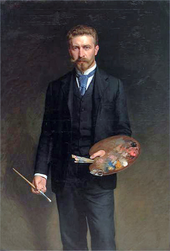 Kazimierz Pochwalski, Self Portrait, Portraits of Painters, Fine arts, Portraits of painters blog, Paintings of Kazimierz Pochwalski, Painter Kazimierz Pochwalski