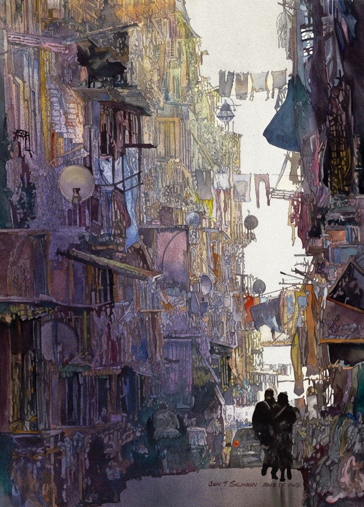 01-Alley-Shadows-John-Salminen-Watercolor-Paintings-Taking-Glimpses-into-our-Life-www-designstack-co