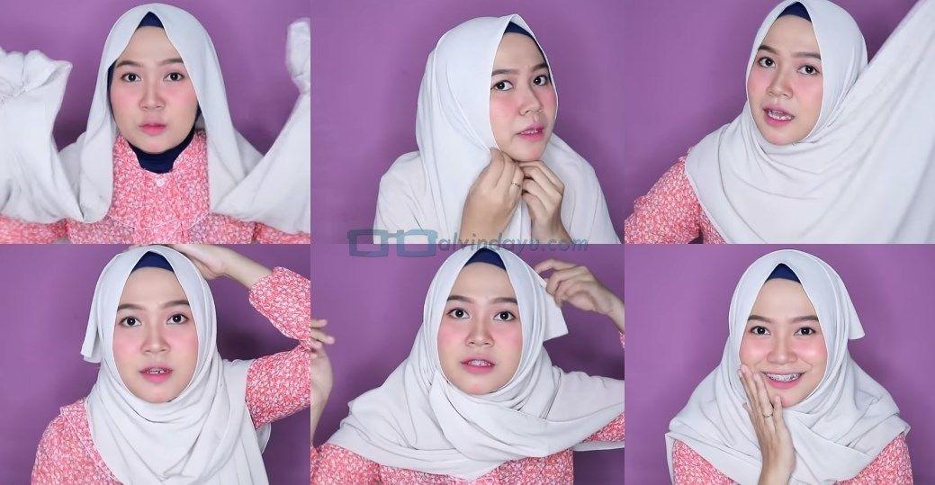 cara pakai hijab untuk wajah bulat 2021