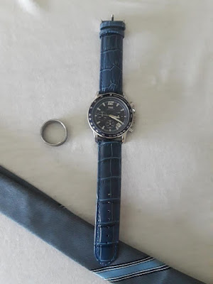 What type of Man do you have?-A Little Bit of Something-Quartz Chronograph Diver Beze Watch- blue and leather band
