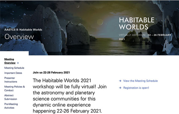 Be sure to sign up for the AAS Habitable Worlds Meeting (Source: www.aas.org)