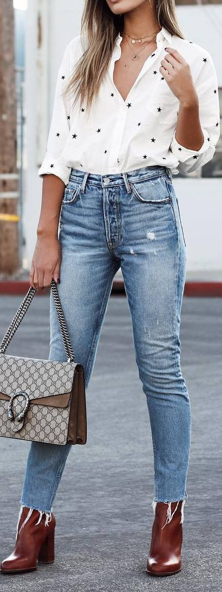 street style outfit: shirt + ripped jeans + bag
