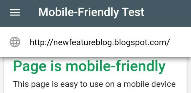 google mobile friendly test tool for blogger or website