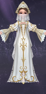Zoya in the white and gold religious garb of the Holy Maiden