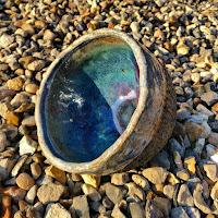 Handmade ramen bowl with colourful glaze inside