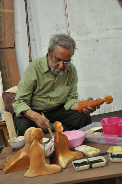 Gulam Mohammad Sheikh Working On His Mural