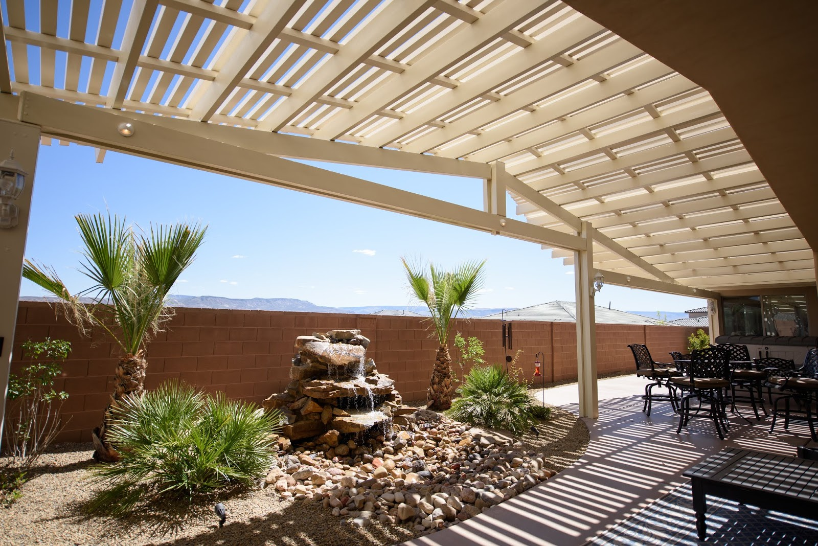 patio cover with these zen like fountains