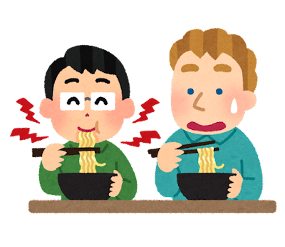 麺をすする音に驚く外国人のイラスト