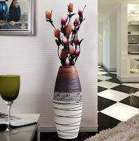 Creative floor vase design with colorful pattern
