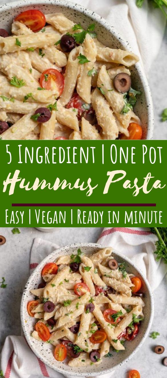 One Pot 5-Ingredient Hummus Pasta #dinner #vegetarian