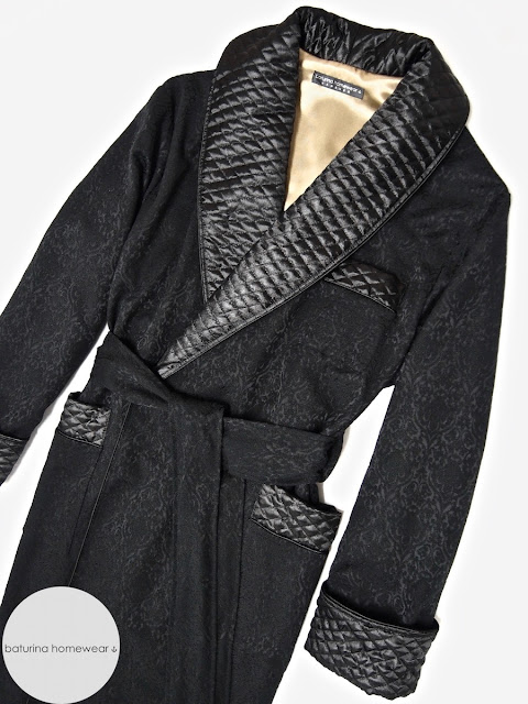 Mens quilted black silk robe dressing gown paisley