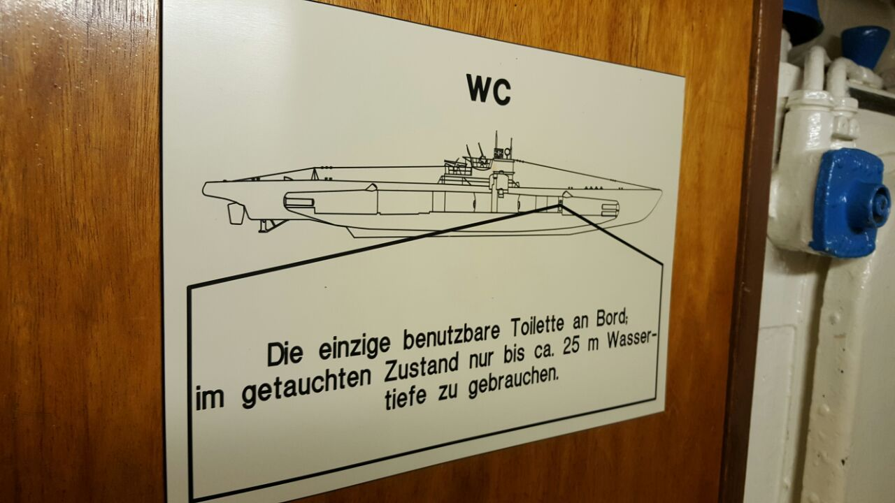 the only usable toilet on board to use in submerged condition only up to 25 m water depth translation of the above notice board  [ 1280 x 720 Pixel ]