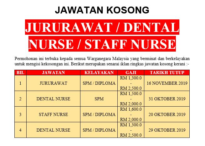 [Permohonan Terbuka] Jawatan Kosong Jururawat / Dental Nurse / Staff Nurse Ambilan Oktober - November 2019