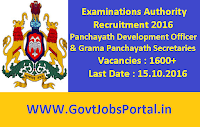 Examinations Authority Recruitment 2016 for 1600+ Panchayath Development Officer & Grama Panchayath Secretaries Apply Online Here