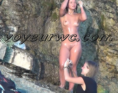 Spy Cam Waterfall Shower 125-134 (Naked women caught on spy cam taking shower natural waterfall)