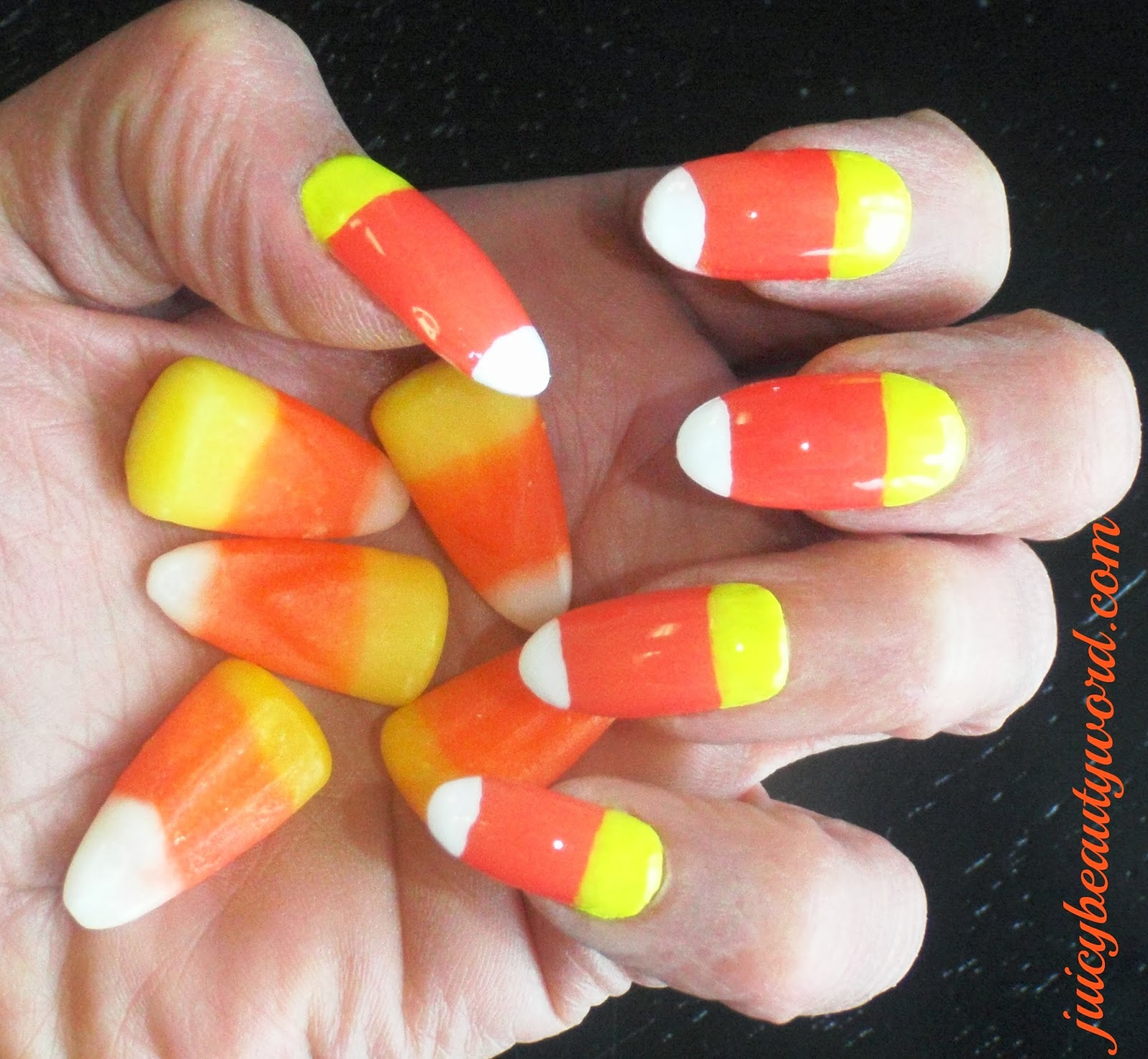 The Juicy Beauty Word Trick Or Treat Candy Corn Nail Designs