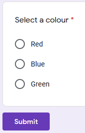 Screenshot of Google Form question