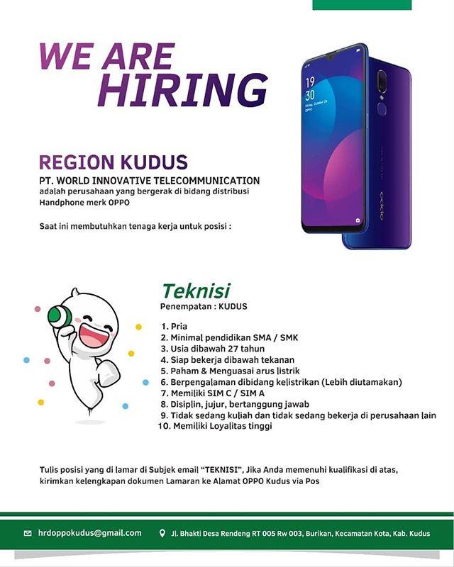 Lowongan Teknisi di PT World Innovative Telecommunication (OPPO Camera Phone)