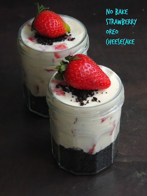 No Bake strawberry Oreo Cheesecake