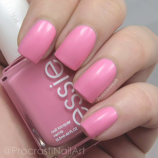 Swatch of the bright pink creme nail polish Essie Delhi Dance