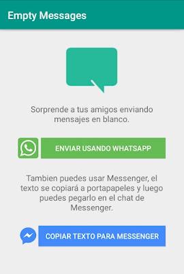 enviar un mensaje en blanco/vacío en Whatsapp y Messenger