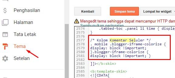 Kode HTML Komentar Versi Mobile VioMagz