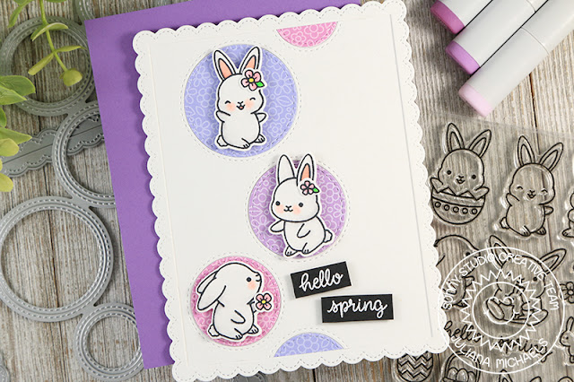 Sunny Studio Stamps: Staggered Circles Chubby Bunny Hello Spring Card by Juliana Michaels