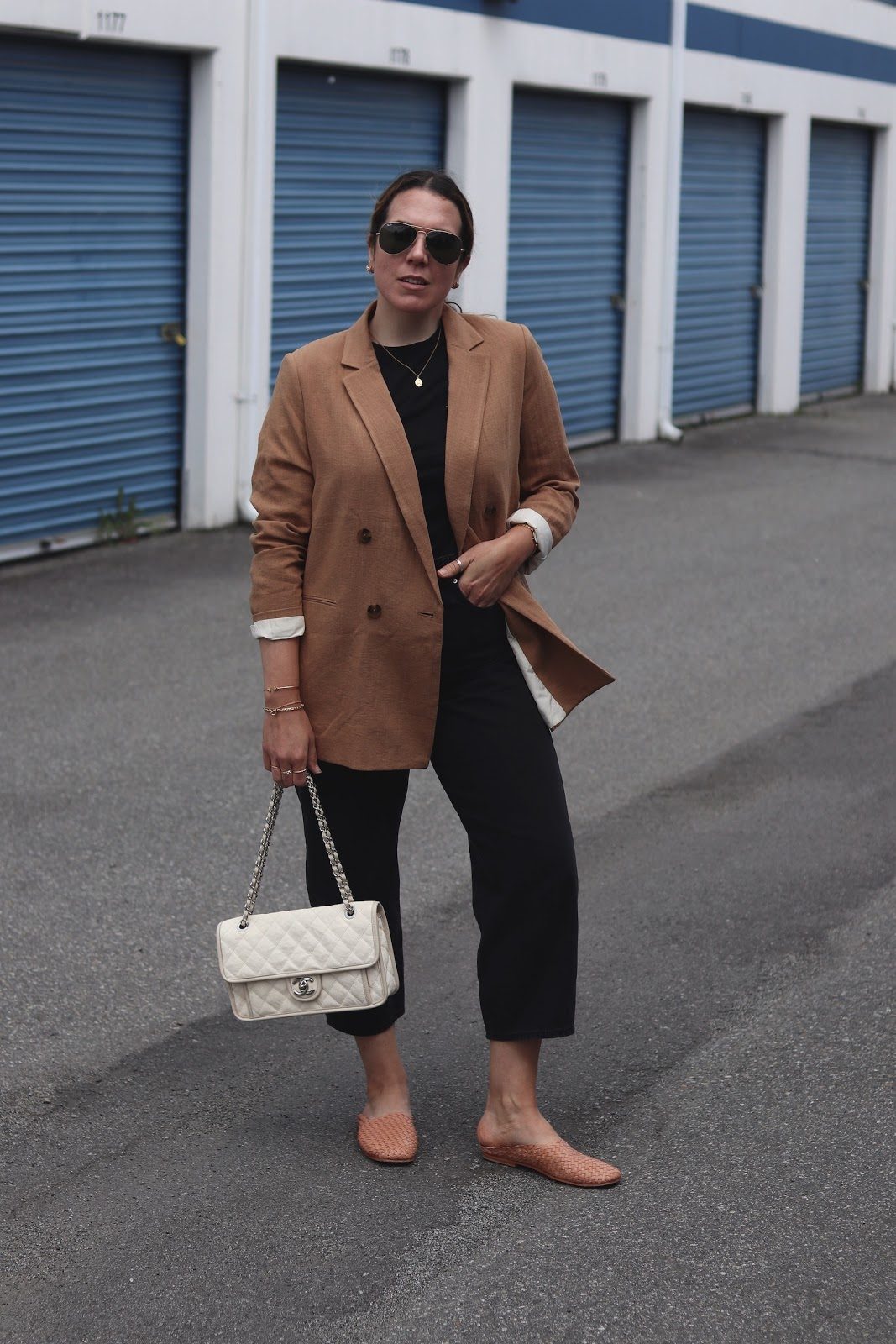 HM tan blazer levis balloon jeans outfit chanel french riviera flap st agni